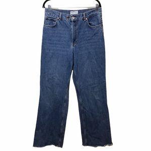 Zara High Rise Wide Leg Frayed Hem Jeans